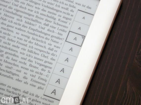Das Menü zur Schriftverstellung erscheint am rechten Bildschirmrand