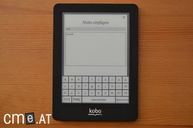 Notizen lassen sich mittels QWERTZ-Tastatur eingeben