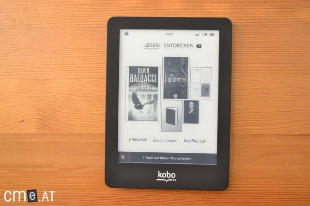 Der Homescreen des Kobo Glo zeigt die zuletzt hinzugefügten und gelesenen Bücher