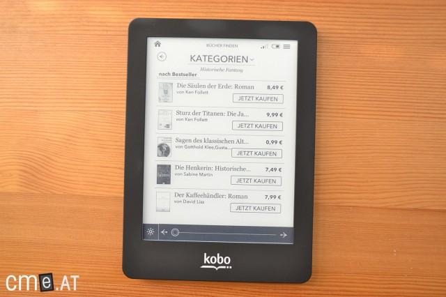 Der integrierte eBook Store ist zwar übersichtlich, könnte aber vom Angebot etwas besser sein