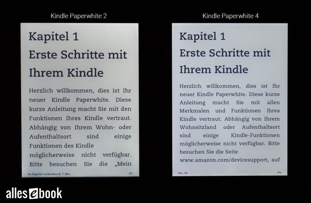 Kindle Paperwhite 2 und Paperwhite 4 im Beleuchtungsvergleich.