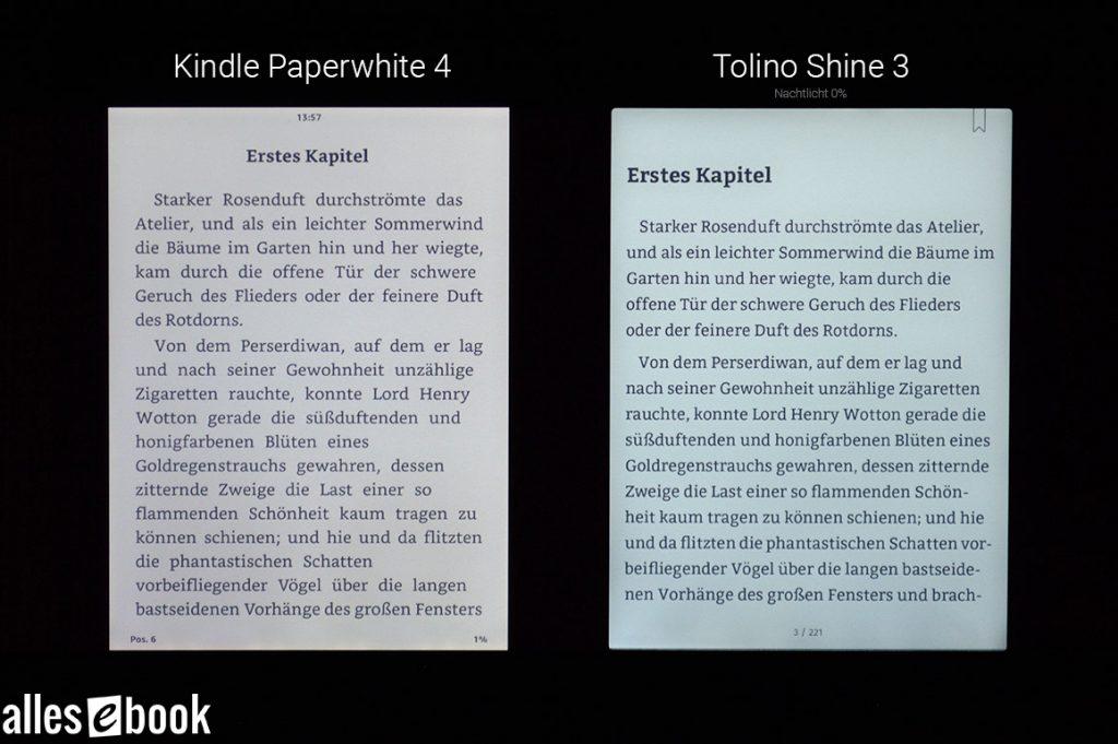 Beleuchtungen von Kindle Paperwhite und Tolino Shine 3 im Vergleich